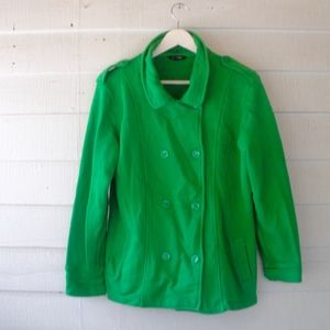 Vintage J Peterman Hooded Green Peacoat Medium L